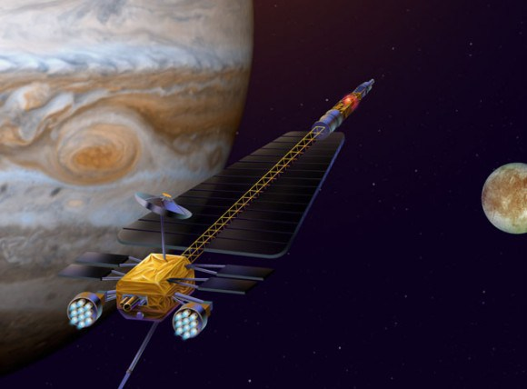 Artist's concept of the Jupiter Icy Moons Orbiter (JIMO), a cancelled program that envisioned sending a spacecraft to inspect Callisto, Ganymede and Europa. Credit: NASA/JPL