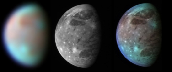 Montage showing New Horizons' views of Ganymede taken by it's infrared spectrometer and LORRI and LEISA instruments. Credit: NASA/Johns Hopkins University APL/SwRI