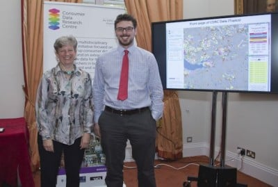 Professor Alex Singleton with Professor Jane Elliot, Director of the Economic and Social Research Council (ESRC), at the launch of the CDRC data service