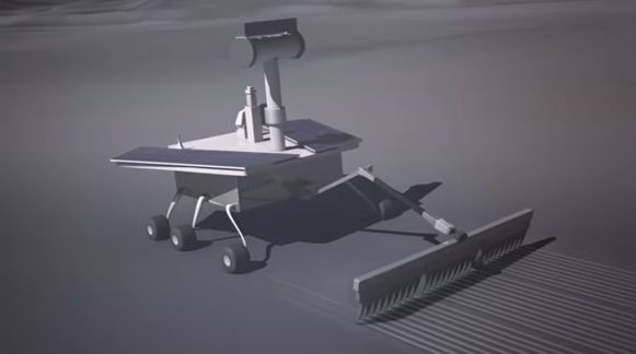 Lunar scraper robot. Image credit: PatentYogi/YouTube video screenshot