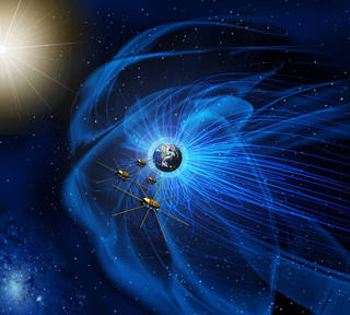 NASA's Magnetospheric Multiscale mission (shown here in an artist concept) flies through the borders of the magnetic fields around Earth to better understand how they connect and disconnect with similar magnetic fields coming from the sun. Such magnetic reconnection can explosively release energy and particles into near-Earth space. Credits: NASA