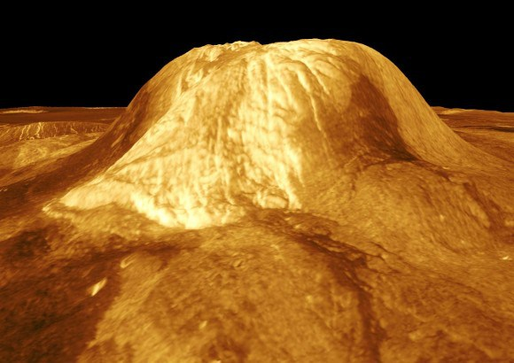 Three-dimensional simulation of Gula Mons captured by the Magellan Synthetic Aperture Radar (SAR) combined with radar altimetry. Credit: NASA/JPL
