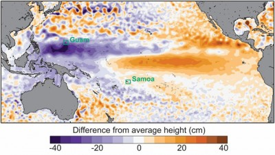 Extreme low sea levels occurred during August in parts of the western Pacific associated with the ongoing strong El Niño. Data from AVISO satellite measurements. Image credit: Widlansky, et al., 2015