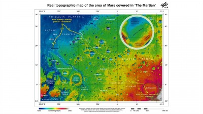 "The route of ""The Martian"" -from Chryse Planitia over Arabia Terra in the Martian highlands to Ares 4. Image credit: ESA/DLR/FU Berlin - CC BY-SA 3.0 IGO."
