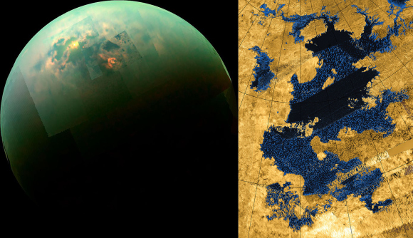 Mosaic of images taken in near infrared light showing Titan's polar seas (left) and a radar image of Kraken Mare (right), both taken by the Cassini spacecraft. Credit: NASA/JPL