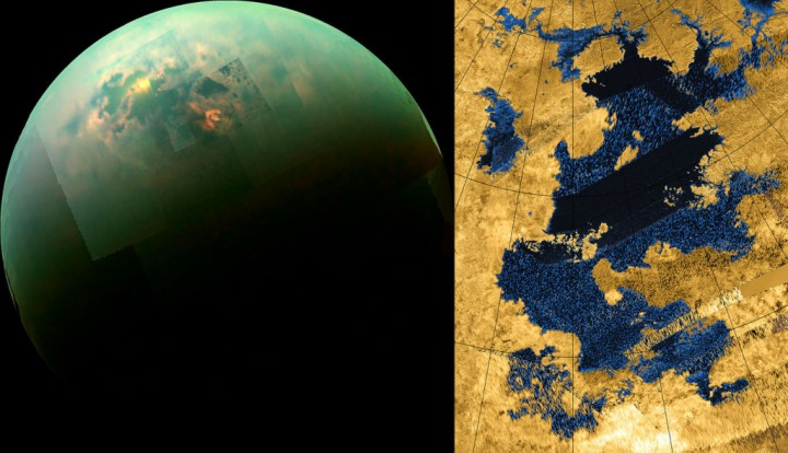 The left image shows a mosaic of images taken by the Cassini spacecraft in near infrared light. Titan's polar seas are visible as sunlight glints off of them. The reflection is in the southern part of Kraken Mare, Titan's largest body of liquid. It consists of liquid methane and other hydrocarbons (compounds of hydrogen and carbon). The right image is a radar image of Kraken Mare, also obtained by Cassini. 'Kraken' is the name of a legendary Norse sea monster, and the name apparently alludes (at least fancifully) to the hopes of astrobiologists regarding this intriguing alien sea. Credit: NASA Jet Propulsion Laboratory.