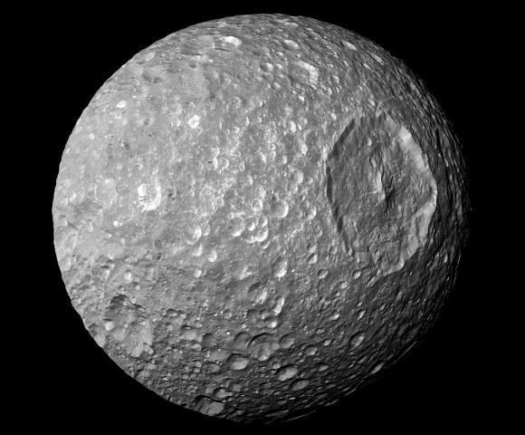 A view of Mimas from the Cassini spacecraft. Credit: NASA/JPL/Space Science Institute