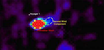 This image shows a sky map of neutral oxygen atoms represented by the variously colored pixels coming towards (foreground) the IBEX spacecraft from the boundary of our solar system. The most intense feature, like a spotlight in the sky, is in red and shows interstellar oxygen wind coming towards IBEX, with the second wind component highlighted by the dashed yellow ellipse. The white dot indicates the direction in which Voyager 1 is heading away from the foreground. Voyager 1 currently traverses the layer of the heliosphere from which the second wind component originates. Image adapted from a figure in the ApJS paper authored by UNH graduate student Jeewoo Park.