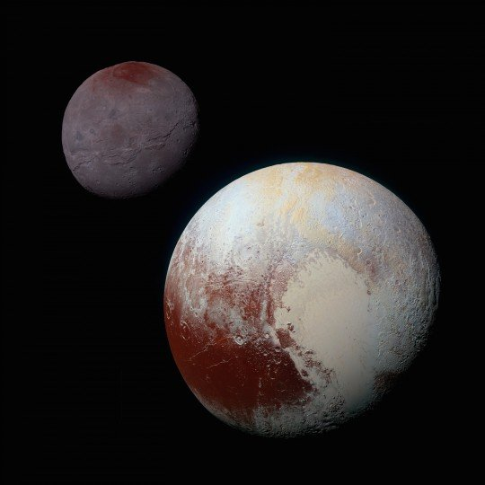 This composite of enhanced color images of Pluto (lower right) and Charon (upper left), was taken by NASA's New Horizons spacecraft as it passed through the Pluto system on July 14, 2015. This image highlights the striking differences between Pluto and Charon. The color and brightness of both Pluto and Charon have been processed identically to allow direct comparison of their surface properties, and to highlight the similarity between Charon's polar red terrain and Pluto's equatorial red terrain. Pluto and Charon are shown with approximately correct relative sizes, but their true separation is not to scale. The image combines blue, red and infrared images taken by the spacecraft's Ralph/Multispectral Visual Imaging Camera (MVIC). Credits: NASA/JHUAPL/SwRI
