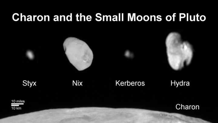Family Portrait of Pluto's Moons: This composite image shows a sliver of Pluto's large moon, Charon, and all four of Pluto's small moons, as resolved by the Long Range Reconnaissance Imager (LORRI) on the New Horizons spacecraft. All the moons are displayed with a common intensity stretch and spatial scale (see scale bar). Charon is by far the largest of Pluto's moons, with a diameter of 751 miles (1,212 kilometers). Nix and Hydra have comparable sizes, approximately 25 miles (40 kilometers) across in their longest dimension above. Kerberos and Styx are much smaller and have comparable sizes, roughly 6-7 miles (10-12 kilometers) across in their longest dimension. All four small moons have highly elongated shapes, a characteristic thought to be typical of small bodies in the Kuiper Belt. Credits: NASA/JHUAPL/SwRI