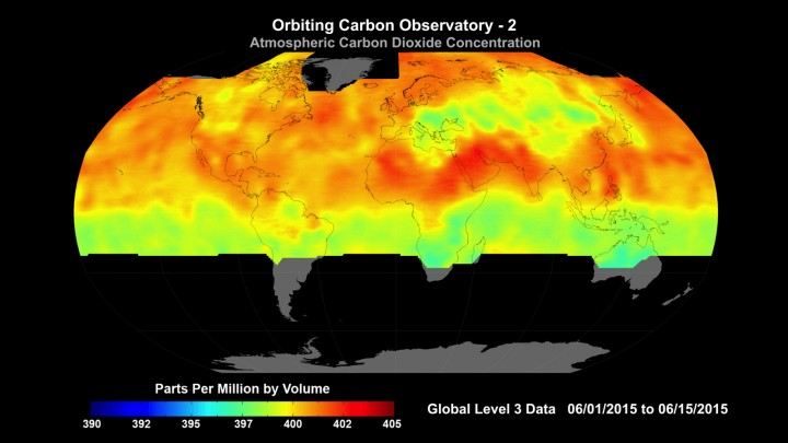 Global average carbon dioxide concentrations as seen by NASA's Orbiting Carbon Observatory-2 mission, June 1-15, 2015. OCO-2 measures carbon dioxide from the top of Earth's atmosphere to its surface. Higher carbon dioxide concentrations are in red, with lower concentrations in yellows and greens. Credit: NASA/JPL-Caltech