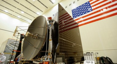 The high gain antenna and solar arrays are installed on the OSIRIS-REx spacecraft before moving to environmental testing. Image credit: Lockheed Martin