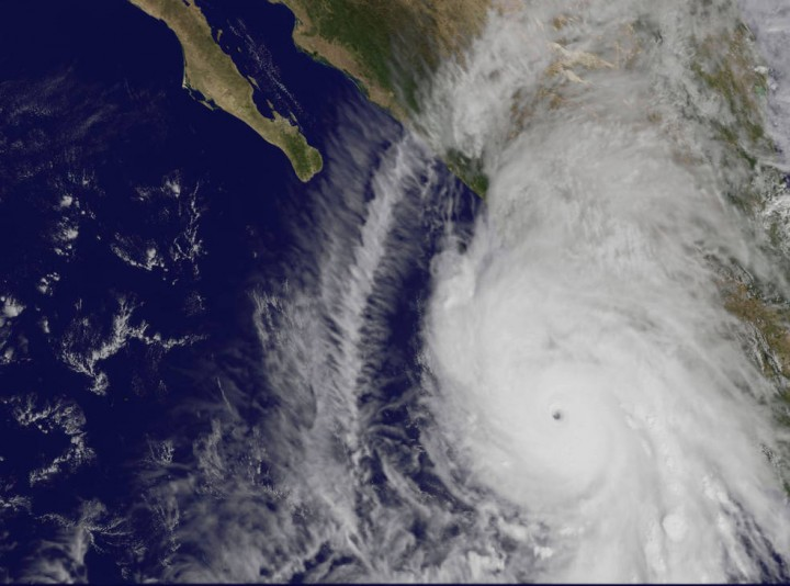 This visible image of Hurricane Patricia was taken from NOAA's GOES-West satellite at 1745 UTC (1:45 p.m. EDT) as it headed for landfall along the western coast of Mexico. Credits: NASA/NOAA GOES Project