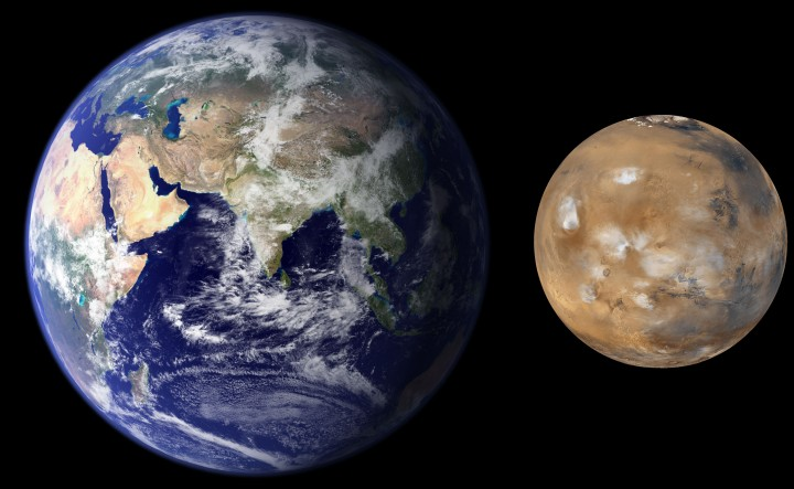 Southwest Research Institute scientists developed a new process in planetary formation modeling that explains the size and mass difference between the Earth and Mars. Mars is much smaller and has only 10 percent of the mass of the Earth. Conventional solar system formation models generate good analogs to Earth and Venus, but predict that Mars should be of similar-size, or even larger than Earth. Image Courtesy of NASA/JPL/MSSS
