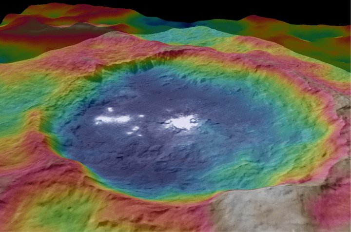This view from NASA's Dawn spacecraft is a color-coded topographic map of Occator crater on Ceres. Blue is the lowest elevation, and brown is the highest. The crater, which is home to the brightest spots on Ceres, is approximately 56 miles (90 kilometers wide). Credits: NASA/JPL-Caltech/UCLA/MPS/DLR/IDA