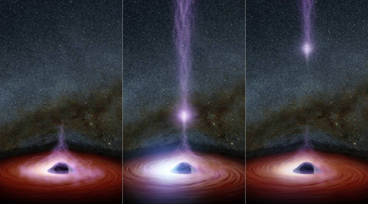 This diagram shows how a shifting feature, called a corona, can create a flare of X-rays around a black hole. The corona (feature represented in purplish colors) gathers inward (left), becoming brighter, before shooting away from the black hole (middle and right). Astronomers don't know why the coronas shift, but they have learned that this process leads to a brightening of X-ray light that can be observed by telescopes. Credits: NASA/JPL-Caltech Full image and caption