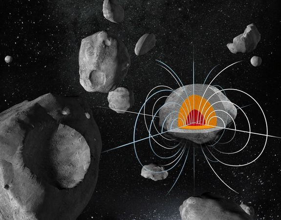 The huge metal asteroid Psyche may have a strong remnant magnetic field. Credit: Damir Gamulin/Ben Weiss