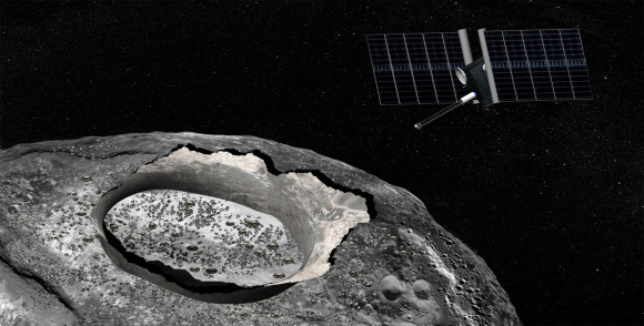 Artist's concept of the Psyche spacecraft, a proposed mission for NASA's Discovery program that would explore the huge metal Psyche asteroid from orbit. Credit: NASA/JPL-Caltech