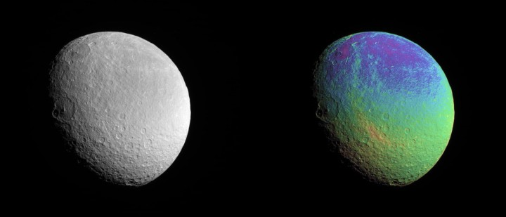Views of Saturn's moon Rhea, with false-color image showing elevation data at the right. Credit: NASA/JPL/Space Science Institute