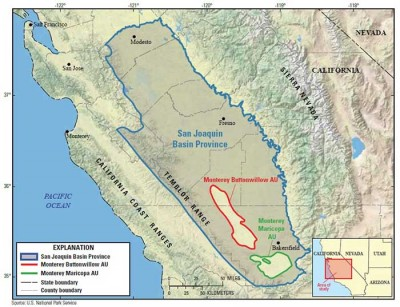 A map showing the extent of the San Joaquin Basin, as well as the location of the two assessment units of the Monterey Formation that were included.