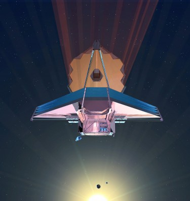 """The James Webb Space Telescope, a large infrared telescope with a 6.5-meter primary mirror, is scheduled to be launched on an Ariane 5 rocket from French Guiana in October of 2018 and will be the premier NASA observatory of the next decade, serving thousands of astronomers around the world. UW astronomers have created a """"habitability index for transiting planets"""" to help guide the ongoing search for life beyond Earth. Image credit: NASA"""