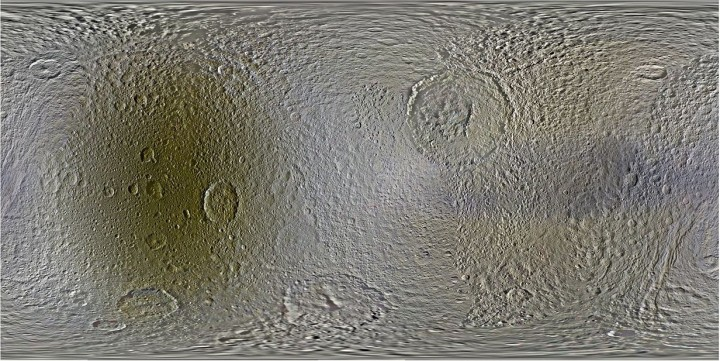 Global, color mosaics of Saturn's moon Tethys, as produced from images taken by NASA's Cassini spacecraft between 2004-2014. Credit: NASA/JPL-Caltech/Space Science Institute/ Lunar and Planetary Institute