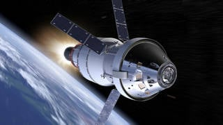 During Exploration Mission-1, Orion will venture thousands of miles beyond the moon during an approximately three week mission. Credits: NASA