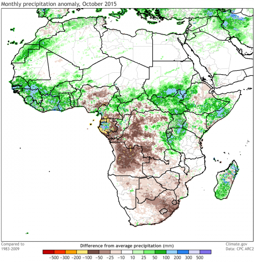 Monthly precipitation departure from the long-term average during October 2015. Map by climate.gov, data from the CPC ARC2.