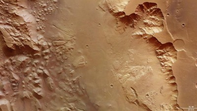 Landslides and delta-shaped alluvial fans. Image credit: ESA/DLR/FU Berlin