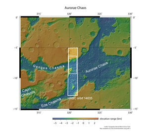 Aurorae Chaos and Ganges Chasma in context