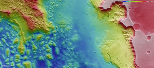Aurorae Chaos and Ganges Chasma topography