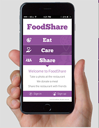 The new app makes it easy for diners to donate to Operation Food Search.