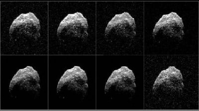 Radar images received by the Green Bank Telescope reveal new details of the surface of asteroid 2015 TB145. Image credit: NASA/JPL-Caltech/GSSR/NRAO/AUI/NSF