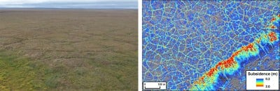 A photo from the study area acquired in August 2015 showing thermokarst development manifest as a network of troughs forming over degrading ice wedges (left). Comparison between the two airborne LiDAR data showing permafrost terrain subsidence in the aftermath of a large and severe Arctic tundra fire.