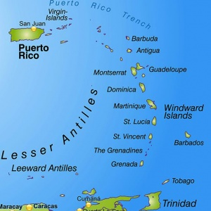 The island chain of the Lesser Antilles runs from the Virgin Islands south to Trinidad and Tobago