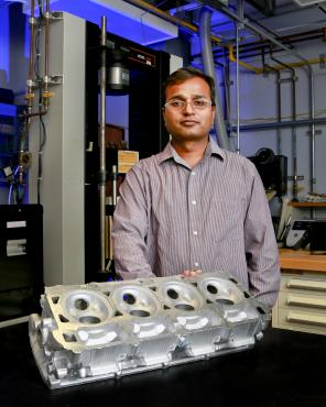 A team of researchers led by ORNL's Amit Shyam is using high-performance computing to speed the development of new high-temperature aluminum alloys for automotive cylinder heads.