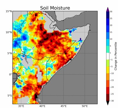 Soil moisture in large areas of East Africa has declined precipitously in recent years. Image credit: Shraddhanand Shukla, UCSB's CHG
