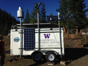 The trailer is used to mount the instruments above accumulating snow pack. The instruments on the trailer operate unmanned throughout the winter season. Image credit: University of Washington