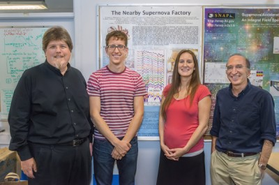 From left, Greg Aldering, Kyle Boone, Hannah Fakhouri and Saul Perlmutter of the Nearby Supernova Factory. Behind them is a poster of a supernova spectrum. Matching spectra among different supernovae can double the accuracy of distance measurements. Image credit: Roy Kaltschmidt/Berkeley Lab