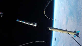 Nose fairing camera. view of an UP Aerospace booster separating in space and ejecting the Maraia capsule. Credits: Contributed Photo / UP Aerospace