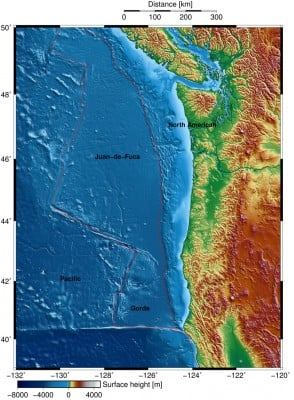 The red line outlines the Juan de Fuca plate that is moving eastward, shoved under the continental North American plate and generating megathrust earthquakes.