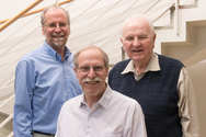 From left to right: Argonne chemists Larry Harding, Al Wagner, and Joe Michael have, combined, more than 100 years of research in combustion science.