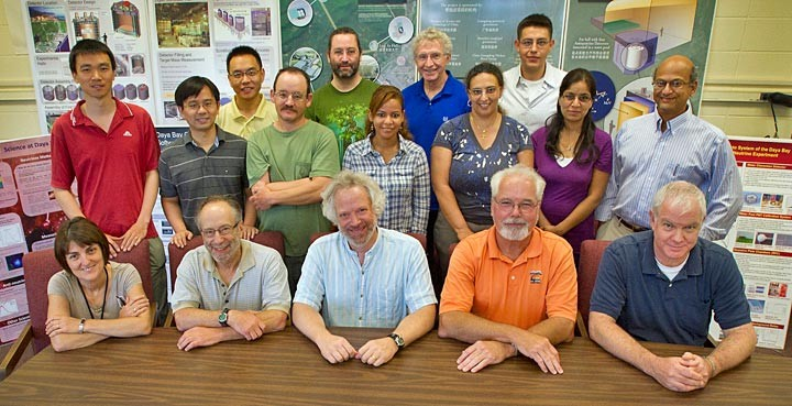 Some members of the current Brookhaven Lab Daya Bay team: (seated, from left) Penka Novakova, Laurie Littenberg, Steve Kettell, Ralph Brown (now deceased), and Bob Hackenburg; (standing, from left) Zhe Wang, Chao Zhang, Jiajie Ling, David Jaffe, Brett Viren, Wanda Beriguete, Ron Gill, Mary Bishai, Richard Rosero, Sunej Hans, and Milind Diwan. Missing from the picture are: Donna Barci, Wai-Ting Chan, Chellis Chasman (retired), Dick Hahn (retired), Jyoti Joshi, Debbie Kerr, Michael Mooney, Hide Tanaka, Wei Tang, Xin Qian, Minfang Yeh, and Elizabeth Worcester