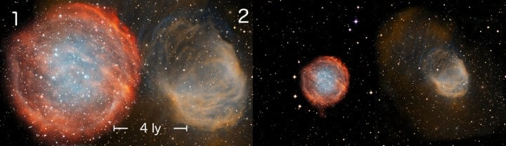 A comparison of the distance scales of two highly evolved nebulae, numbered (1) PuWe 1, (2) Abell 21. Previous distance scales were often inaccurate for the largest, most evolved planetary nebulae, which are the most common type in the Galaxy. The left panel shows the physical sizes of two nearby nebulae, presented at a common scale and using the authors' new calculations. The scale bar represents 4 light years. The right panel shows the physical sizes calculated from a commonly used older distance scale, which considerably underestimates the distances and hence sizes of these objects. Credit: NOAO/AURA/NSF, Ivan Bojicic, David Frew, Quentin Parker (HKU)