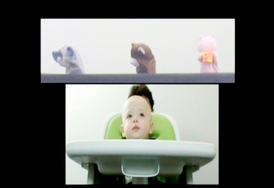 A screen shot of a video from one of the experiments shows a subject watching the puppets interact.