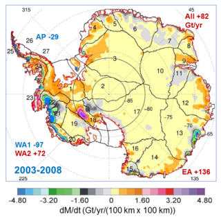 Map showing the rates of mass changes from ICESat 2003-2008 over Antarctica. Sums are for all of Antarctica: East Antarctica (EA, 2-17); interior West Antarctica (WA2, 1, 18, 19, and 23); coastal West Antarctica (WA1, 20-21); and the Antarctic Peninsula (24-27). A gigaton (Gt) corresponds to a billion metric tons, or 1.1 billion U.S. tons. Credits: Jay Zwally/ Journal of Glaciology