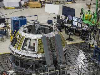 Technicians with Lockheed Martin, NASA's prime contractor for Orion, are welding together the pieces of the spacecraft's pressure vessel at Michoud Assembly Center in New Orleans. Credits: NASA