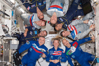 The international crew members of Expeditions 37 and 38 aboard the International Space Station. Credits: NASA