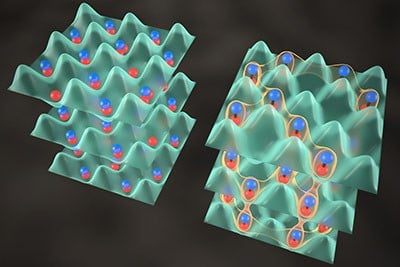 """Scientists create JILA's quantum crystal by precisely overlapping two dense gases of ultracold potassium and rubidium atoms (left) to produce molecules that form an interconnected system (right), in which """"spin"""" properties can migrate between molecules. The crystal could lead to development of new materials. Image credit: Steven Burrows and Ye/Jin groups/JILA"""