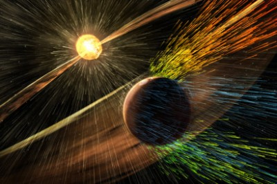 Artist's rendering of a solar storm hitting Mars and stripping ions from the planet's upper atmosphere. Image credit: NASA/GSFC